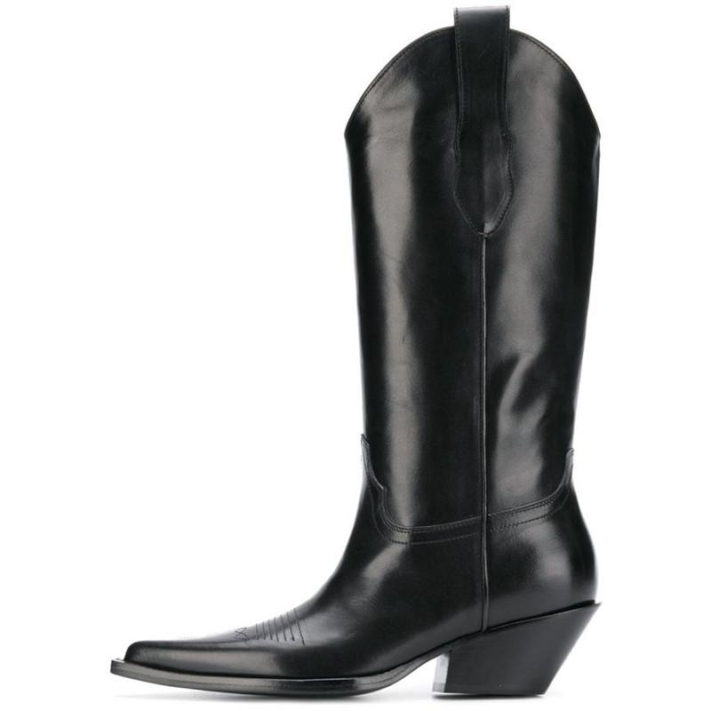 1db0b109a85 New Retro Style Real Leather Cowboy Boots For Women Low Heel Slip On Knee  High Boots Women Western Boats Black Silver Wellies Boots For Women From  Kateperry ...