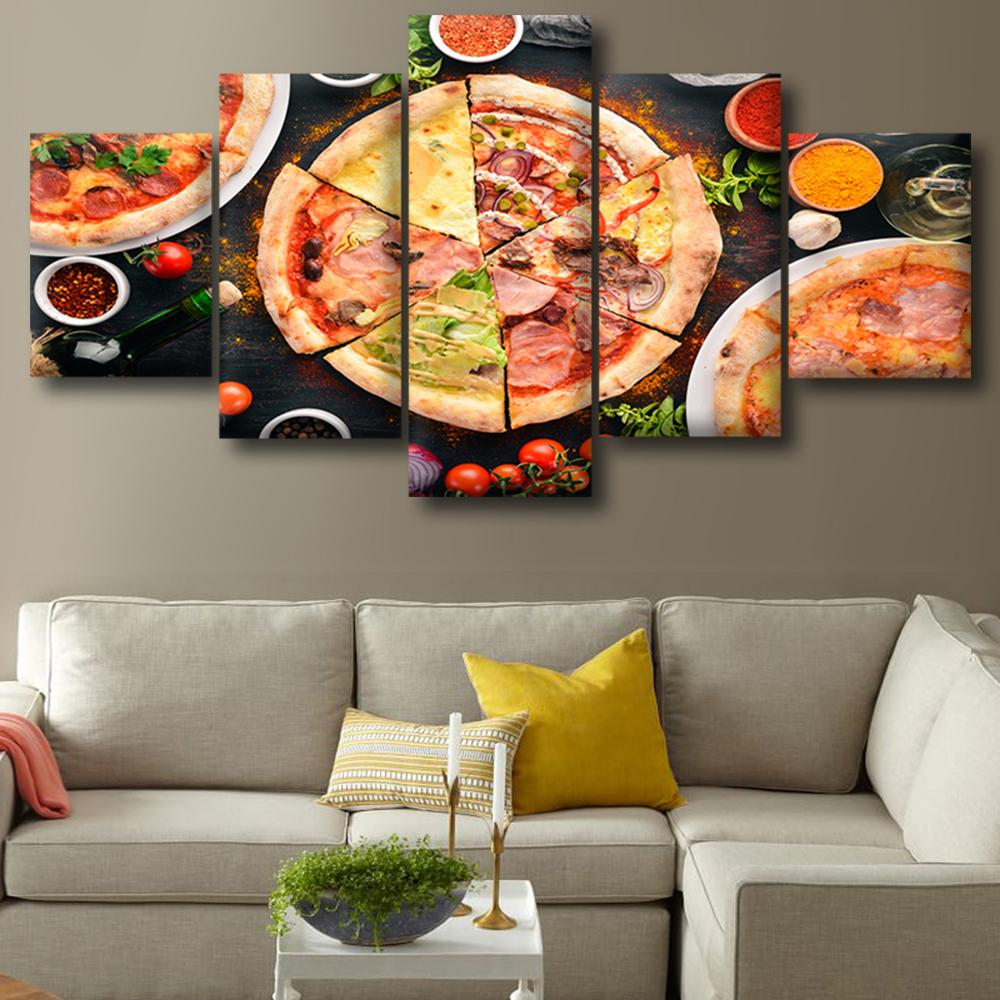 Canvas posters home decor wall art framework 5 pieces pizza cuisine paintings for living room hd prints modern food pictures