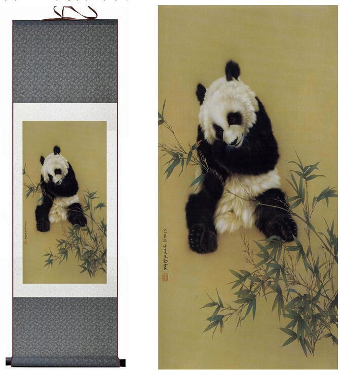 Panda Painting Traditional Chinese Art Painting Silk Scroll Panda Art Painting Panda Pictureprinted Painting1906150928