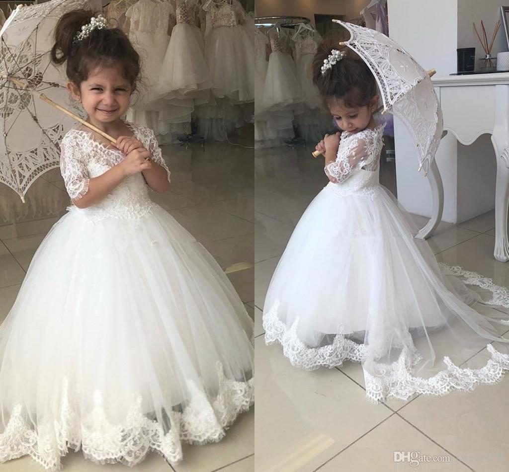 Lovely Cheap Ball Gown Lace Flower Girl Dresses for Weddings Pearls Little Girls Pageant Gowns Sweep Train Tulle First Communion Dress