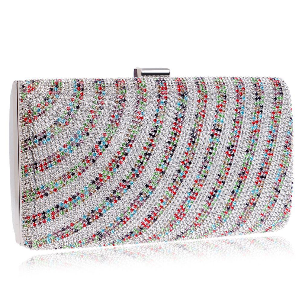 Dgrain Women Colorful Crystal Clutches Bag Evening Party Minaudiere Box Clutch  Purse Bridal Flower Rhinestones Handbag Messenger Bags Clutch Bags From ... efc2c6cffba0