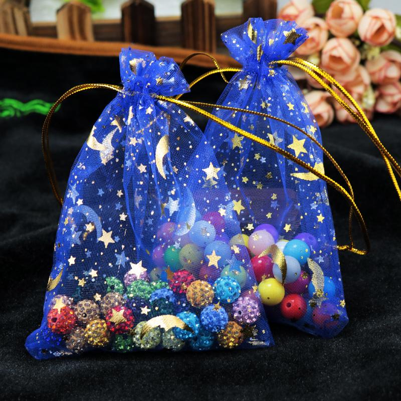 Wholesale 9*12cm Golden Star&Moon Red Organza Bags Small Drawstring Candy Gift Bag Jewelry Packaging Bags Pouches