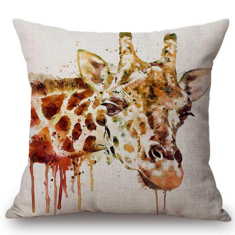 Water Color Animal Wolf Horse Giraffe Tiger Lion Art Painting Home Decorative Sofa Throw Pillow Case Cotton linen Cushion Cover