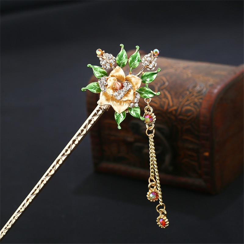 c89961aa6 2019 Beauty Women Handmade Colorful Enamel Rose Flowers Hairpin Rhinestone  Crystal Sticks Pin Girls Chinese Style Hair Jewelry C19010501 From Tong06,  ...