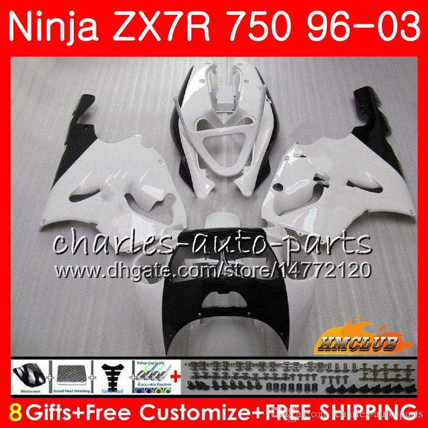 Body For KAWASAKI NINJA ZX 7R ZX750 ZX-7R pearl white1996 1997 1998 1999 2000 28HC.23 ZX-750 ZX 7 R ZX 750 ZX7R 96 97 98 99 00 Fairings