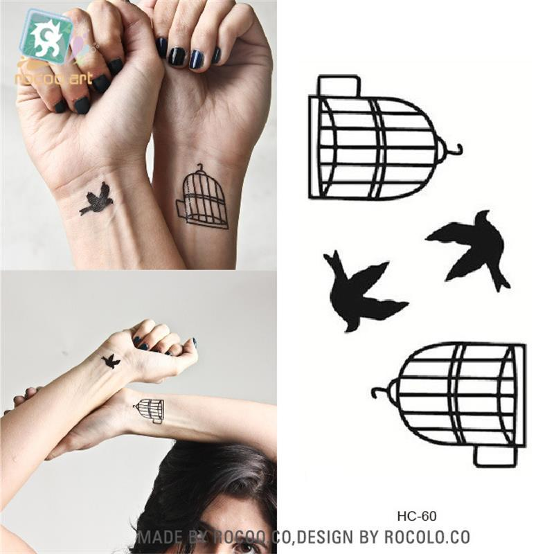 Body Art waterproof temporary tattoos for men and women and Couples simple 3d bird design small tattoo sticker Wholesale HC1060