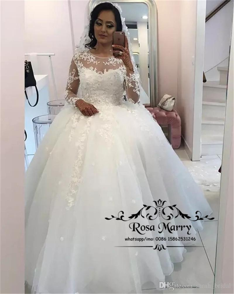 Luxury Vintage Lace Ball Gown Wedding Dresses 2019 Long Sleeves Plus Size  Sequined Beaded Tulle Arabic African Vestido De Novia Bridal Gowns Wedding  Dresses ... 05e50c818254