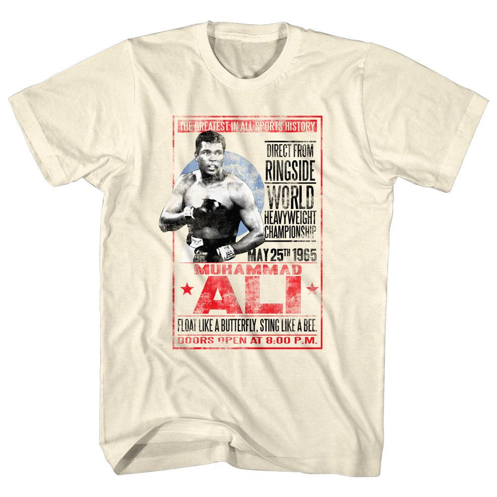 Muhammad Ali Live Boxing Fight Poster 1965 Mens T Shirt World Heavyweight LegendFunny free shipping Unisex Tshirt