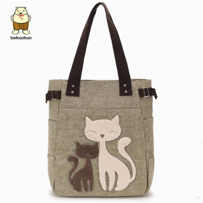 256677edb Cartoon cat women shoulder bag bucket simple canvas bags college style 2019  casual high quality tote bag girls handbag ladies