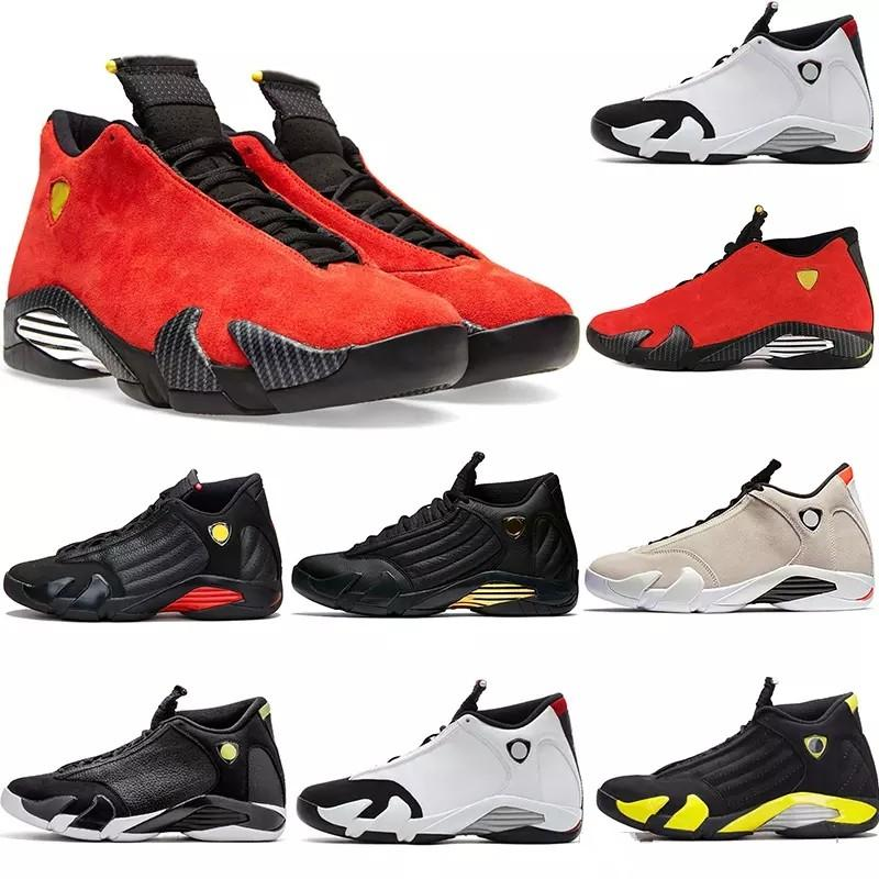 official photos 42584 1e8cd Aaair 1 JORDAN 1 14 14s mens Basketball Shoes Desert Sand DMP Last Shot  Indiglo Thunder Red Suede Oxidized Candy Cane men Sports Sneakers