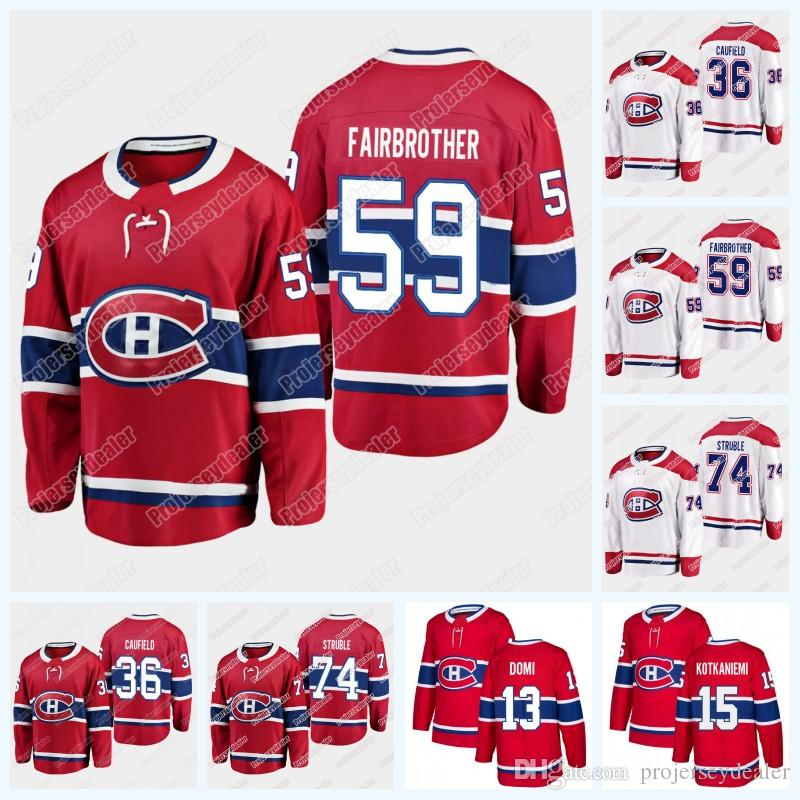 Montreal Canadiens Cole Caufield 36 Gianni Fairbrother 59 Jayden Struble 74 Hockey Jersey 2019 Draft Player Jersey For Mens Woemens Youth