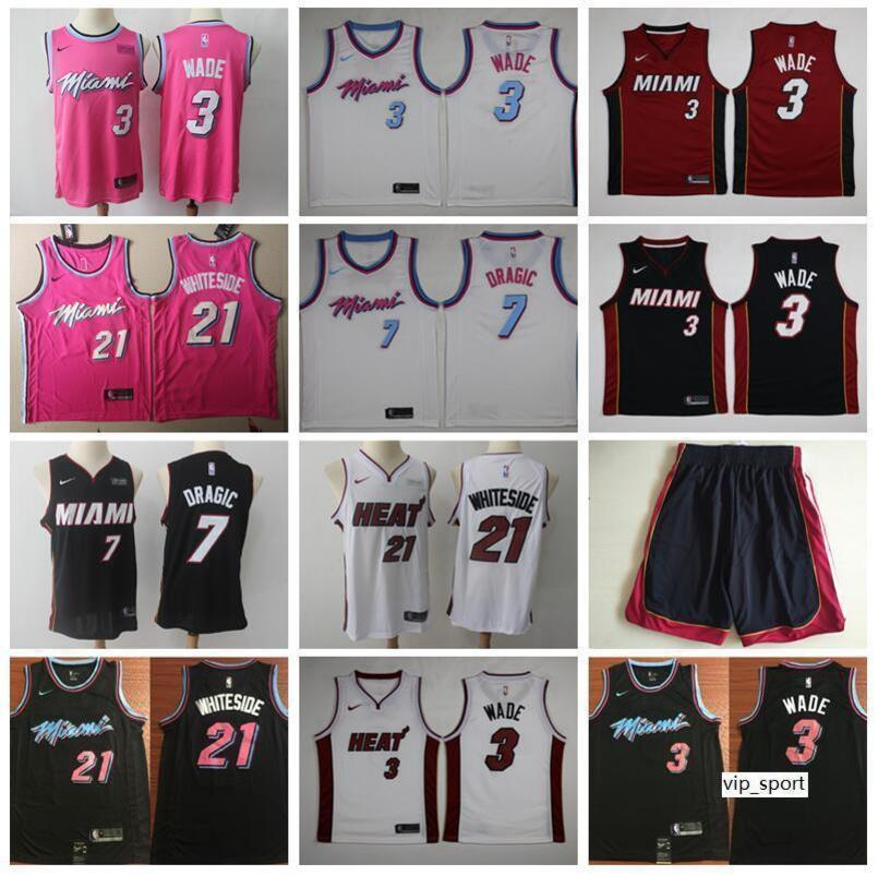 online retailer f4db6 2e5d1 Miami Vice City Earned Edition Dwyane Wade Jersey Heat Basketball Goran  Dragic Hassan Whiteside Jerseys Short Red Black White Shirt Uniform