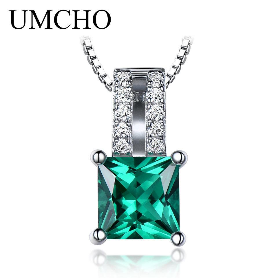 Umcho Elegant Charms Pendants Solid 925 Sterling Silver Jewelry Created Emerald Pendants Wedding For Women Gift Without Chain T190702