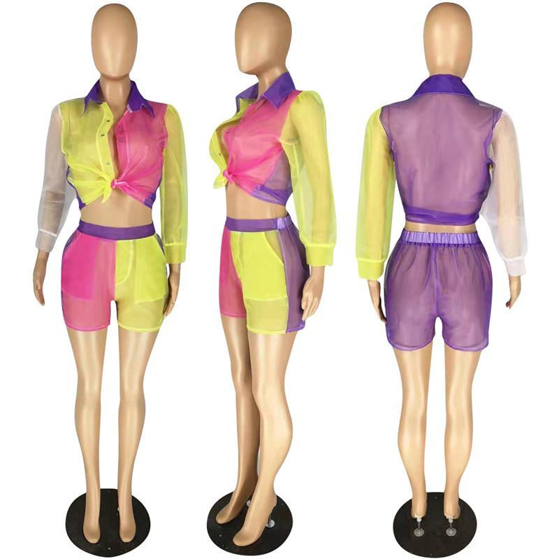 Las mujeres de dos piezas del remiendo ver a través de la blusa de manga larga de los cultivos más alta de la cintura Pantalones cortos Ropa equipos del partido