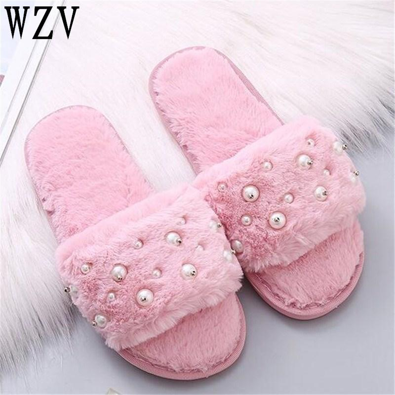 b2bde41f857c 2018 Casual Slipper Flip Flop Warm Pearl Womens Slippers Zapatos Mujer  Ladies Slip On Sliders Fluffy Faux Fur Flat Shoes E370 Womens Slippers  Sheepskin ...