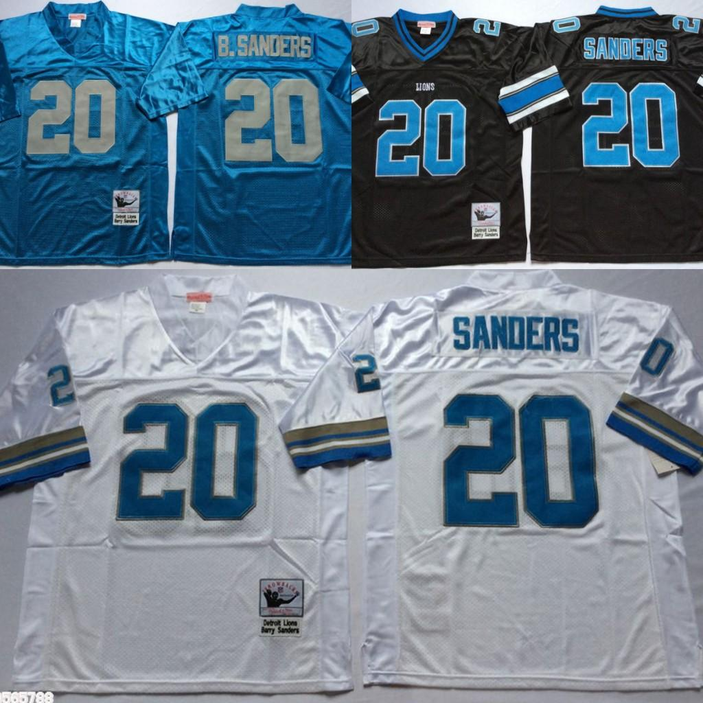 pretty nice 27b26 a03e4 Vintage Detriot 20 lions Barry Sanders Football Jerseys 75th Patch Cheap  Barry Sanders Stitched Shirts S-XXXL