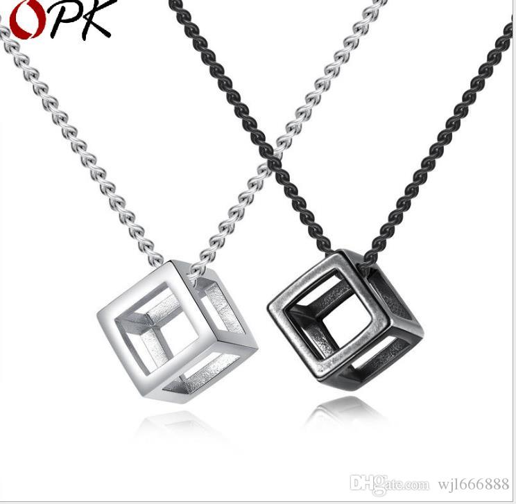 Personality hollow cube pendant three-dimensional happiness magic cube titanium steel necklace Necklace Jewelry