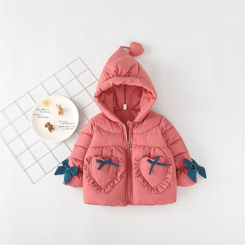 265a06a01ec5 Winter Baby Girl Coat Bow Pockets Hooded Jacket Thick Warm Snow Wear ...