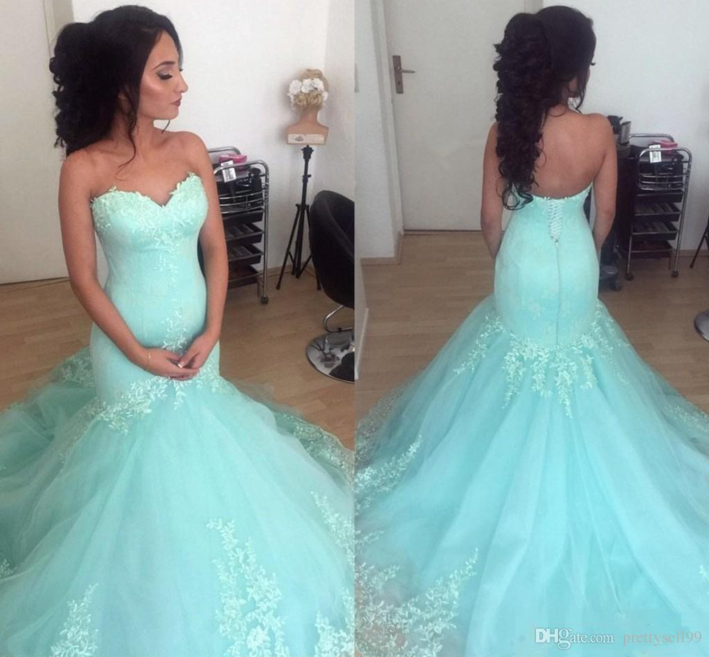 5cef6817781 Mint Green Mermaid Lace Long Prom Dresses 2019 With Appliques Strapless  Sweep Train Tulle Formal Evening Party Gowns Prom Dress Wholesale Prom  Dresses At ...