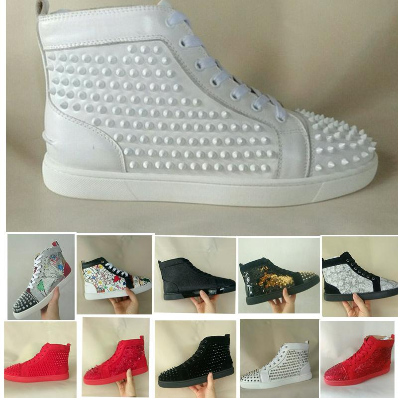 2019 Designer Brand Red Bottom Shoes Men Studded Spikes High Top Louboutin Sneakers Paris Version Women Shoes High Party Lovers Genuine Flats