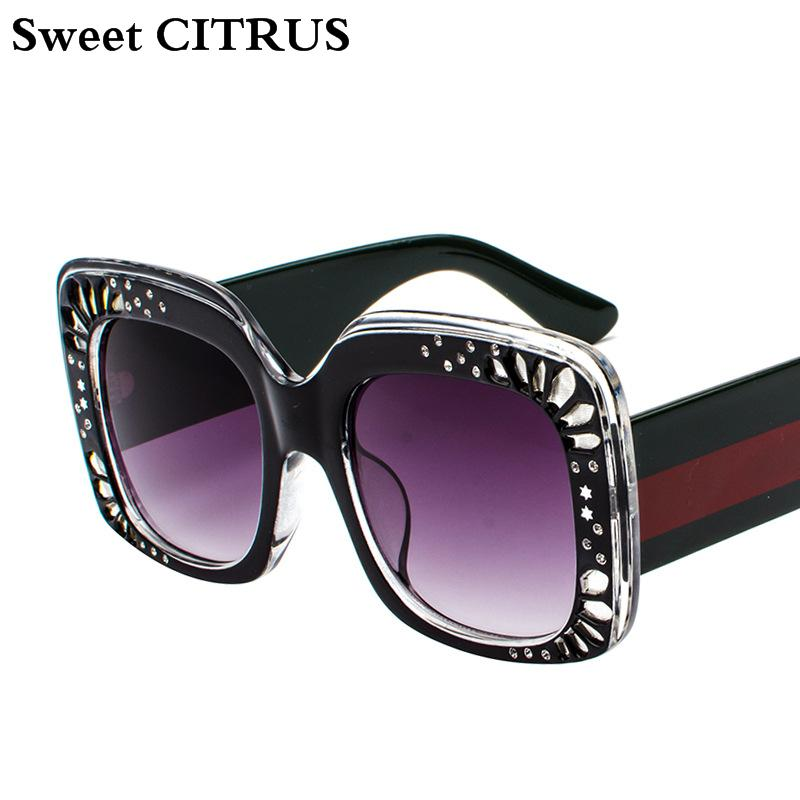 182f6ccffad Wholesale Fashion Rhinestone Oversized Square Sunglasses Women ...