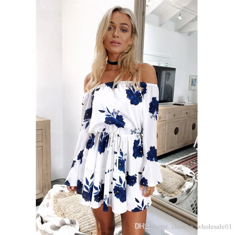 1459a8fe8ab Acheter Accueil Vêtements Aliexpress Ebay Europe Source Commerce Explosion  Source Épaule Robe Sexy Dos Nu Robe Robe Imprimée Robe De Plage 2019 De   7.55 Du ...