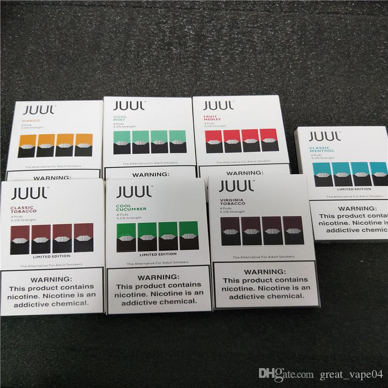 2020 CHEAPEST Juul Pods vape cartridge for juul device in stock, 4 pods 1  pack , top seller mango and Cool Mint pod, latest Package version