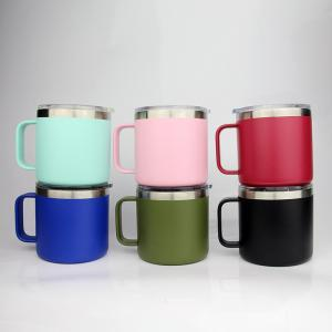 14oz Handle Mugs 6 Colors Stainless Steel Double Wall Vacuum Insulated  Coffee Tea Cup With Lid With Logo 50pcs OOA6219