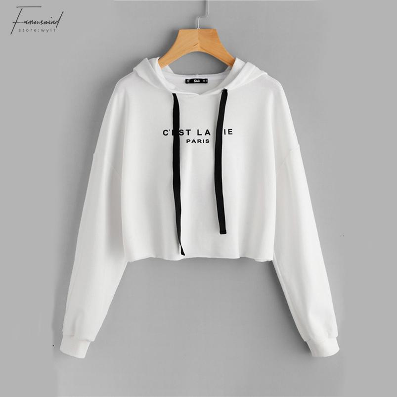 Womens Hoodies Woman Clothes White Drop Shoulder Crop Hoodie Womens Letter Print Long Sleeve Casual Pullovers Sweatshirt Autumn Top