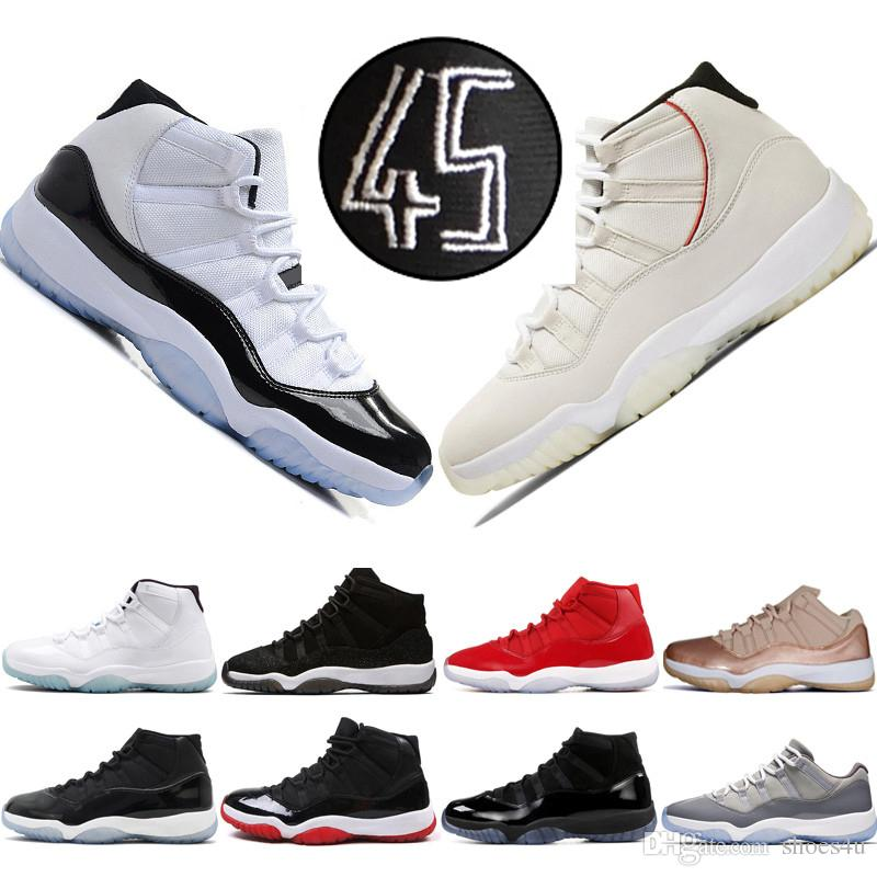 d5cf5a4307857a Concord High 45 23 11 XI 11s Cap And Gown PRM Heiress Gym Red Chicago  Platinum Tint Space Jams Mens Basketball Shoes Sports Sneakers Basket Ball  Shoes ...