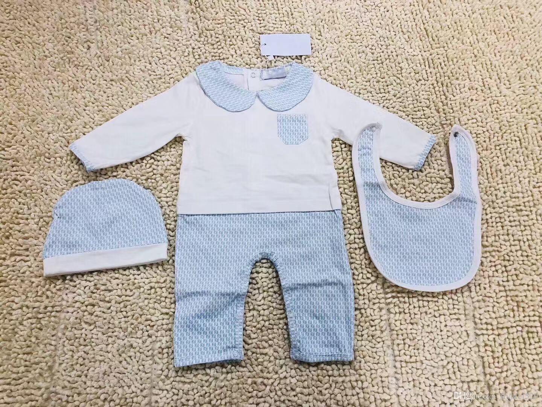 pretty nice 40859 ffe6f Neue Kinder Mutterschaft Baby Kinder Kleidung Hochwertige Baumwolle  Langarm-Cartoon gedruckt Frühling Strampler Hut Lätzchen