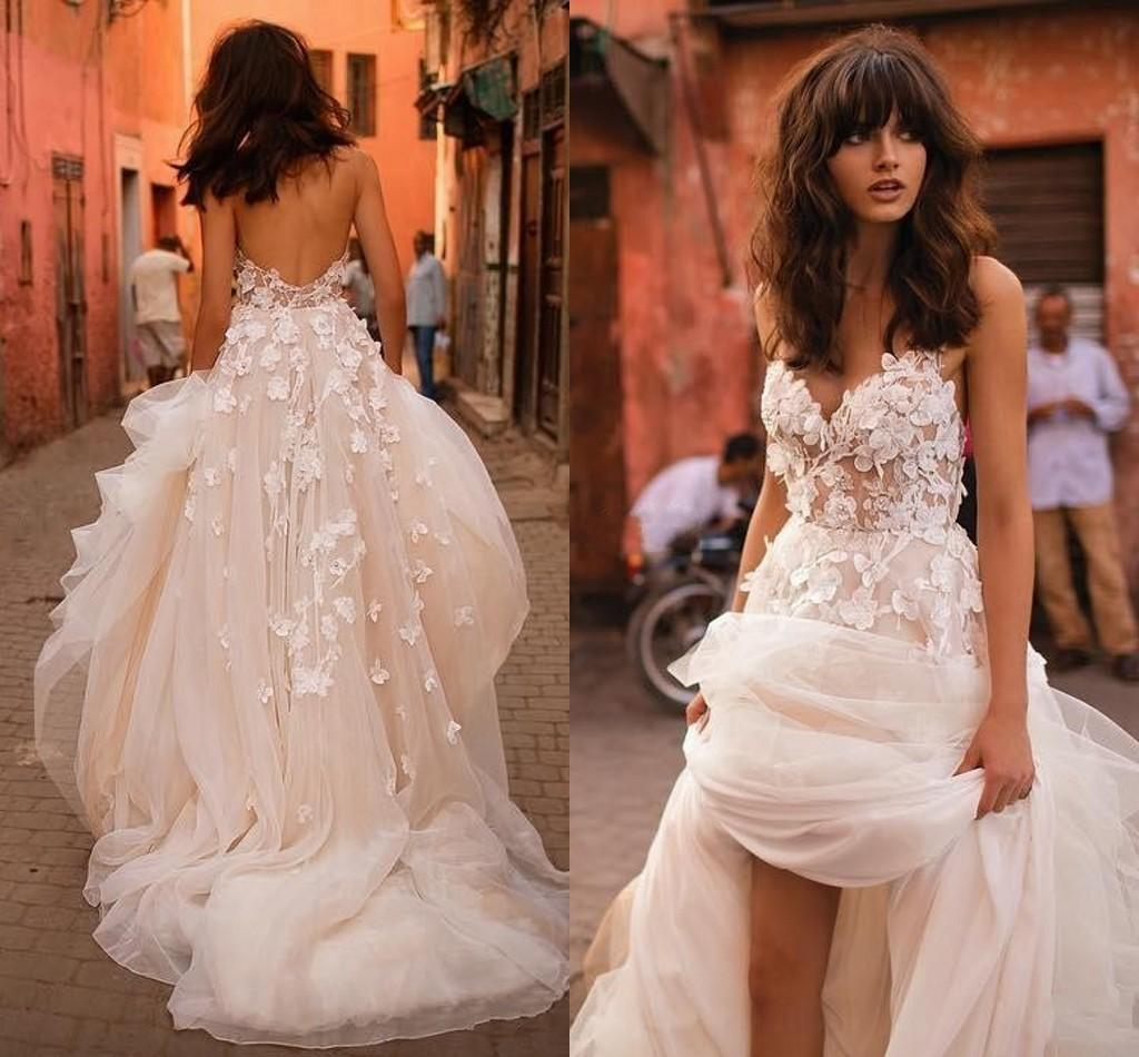 Liz Martinez New Wedding Dresses 2019 Sexy with 3D Floral V Neck Illusion Backless Plus Size Elegant Garden Country Toddler Wedding Gowns