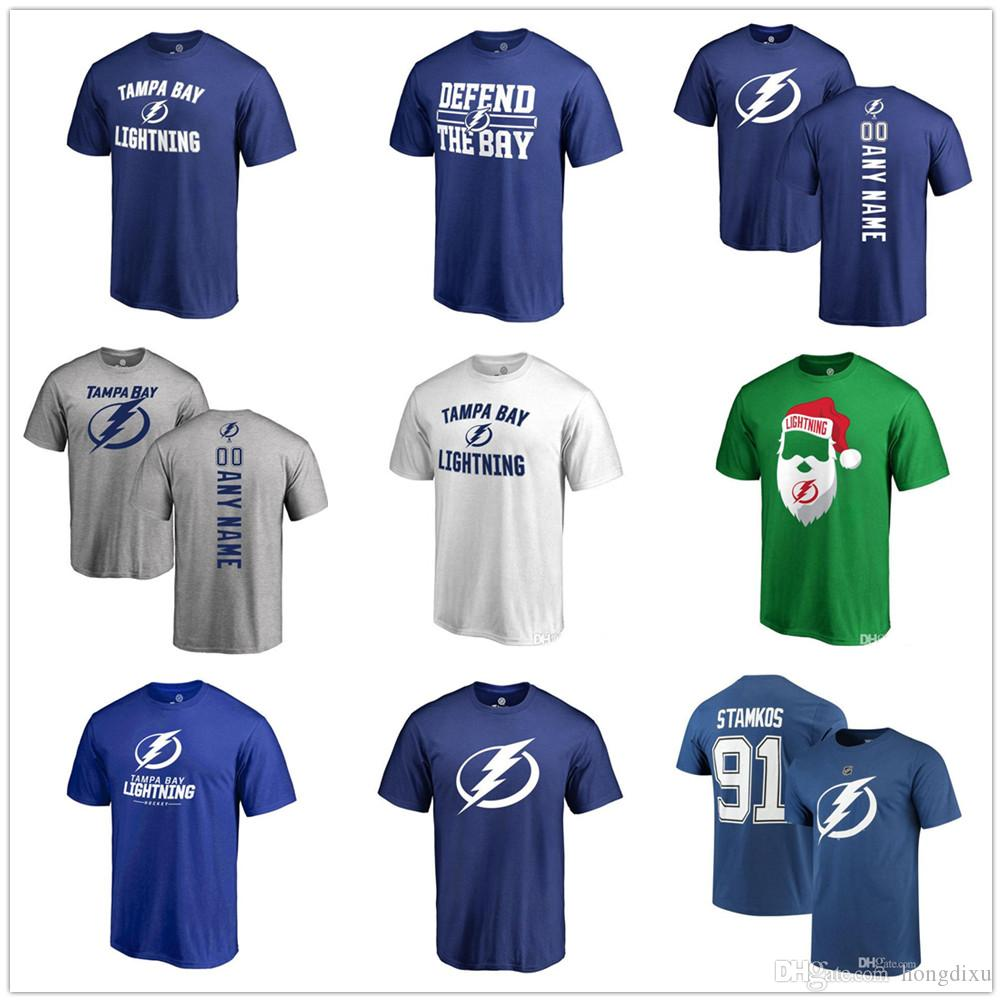 c383de19 18-19 new season NHL T-Shirts Tampa Bay Lightning AD 91 Stamkos Blue ANY  CUSTOM Name and Number Player t-shirt