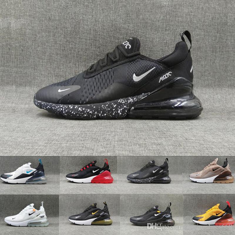 Nike Air Max 270 Novedades 2018 campeón de Francia 27C Hombres Zapatos Negro Blanco Cojín Triple Hombres diseñadores zapatillas de deporte Zapatillas