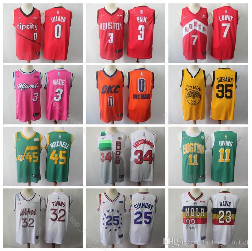 7e6a7d483 2019 Earned Edition Jerseys 2019 Basketball Rockets James 13 Harden Anthony  23 Davis Damian 0 Lillard Derrick 25 Rose Karl Anthony 32 Towns From  Vip_sport, ...