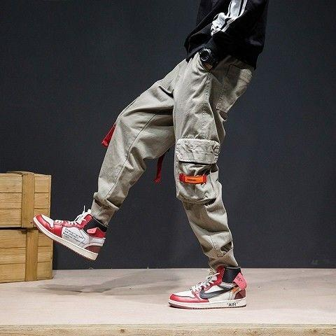 Camouflage Patchwork Side Pocket Cargo Harem Pants Mens Casual Jogger Streetwear Hip Hop 2019 Streetwear Trousers Male