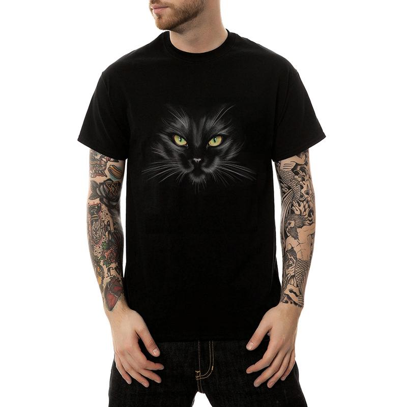 3D Cute Animal Cat Print T Shirt Men Clothes Summer Short Sleeve Tshirts Mens Leisure Black White T-shirt Tee Tops Plus Size