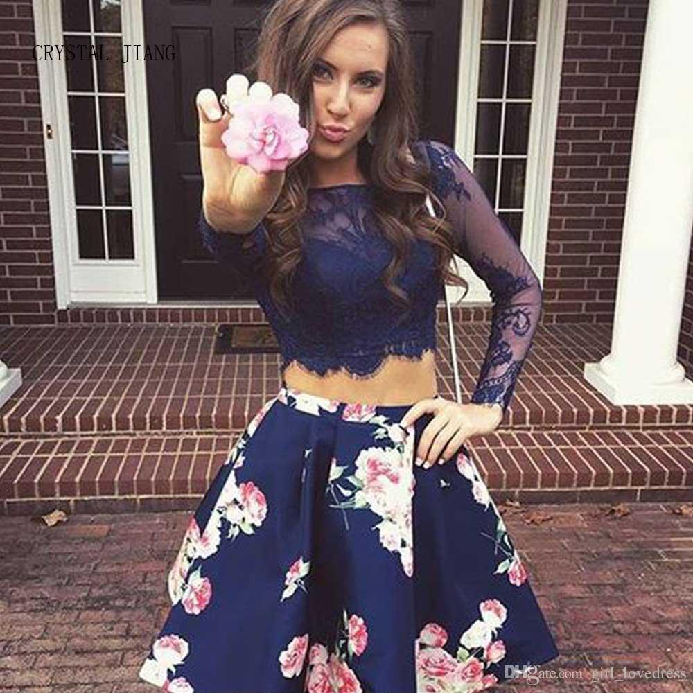 985c9c5e92781 Real Photos Girls Floral Long Sleeves Short Lace Homecoming Dress With  Pockets Printed Graduation Dresses For Prom Party Homecoming Dress Sale  Homecoming ...