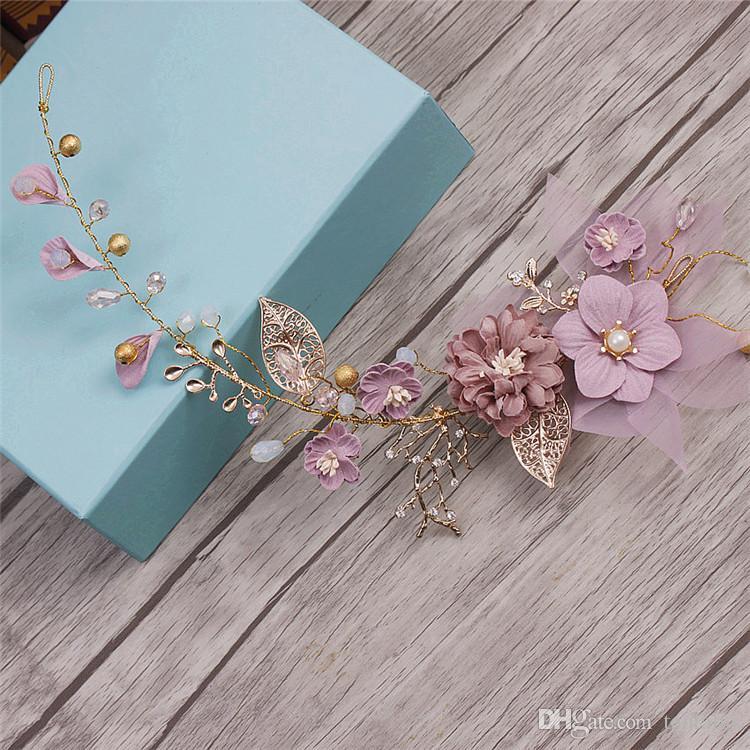 Long Hair Jewelry Flower Wedding Hair Ornaments Headband Purple Series  Bride Headdress Handmade Bridal Wedding Hair Decoration Crystal Glass Tiara  Crown ... caac2447364d