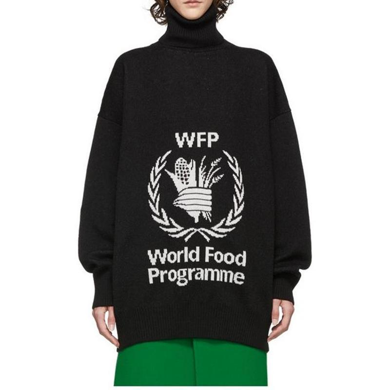 19FW BLCG World Food Programme Sweater High Collar Knitted Sweatshirt Street Pullover Autumn Winter Warm Sweater Hoodies HFYMMY037
