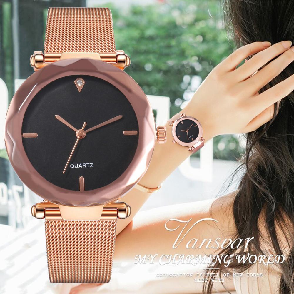 250f1b85e35b Reloj de mujer 2018 Relojes Para Mujer Vansvar Banda de acero inoxidable de  cuarzo informal Números arábigos Reloj de pulsera analógico
