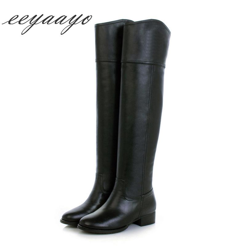 f278d94387a6 2019 New Genuine Leather Winter Women Knee High Boots Low Heel Round Toe  Sexy Ladies Women Cow Leather Shoes Black Long Boots Mens Dress Boots Green  Boots ...
