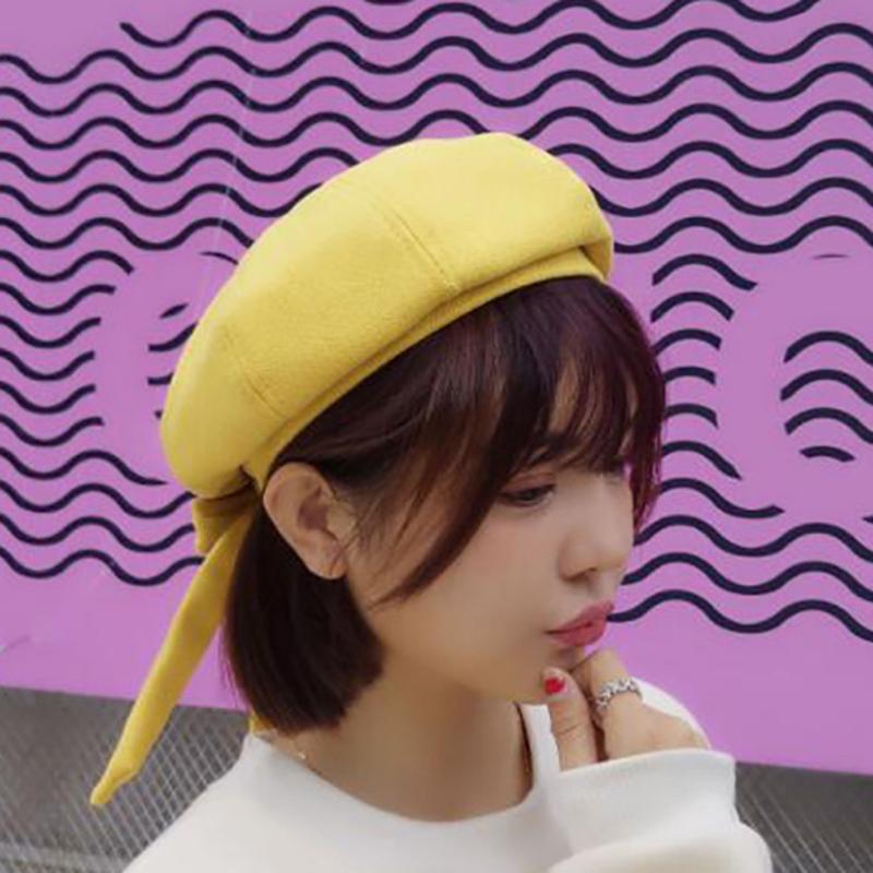 2019 Autumn Winter Hat For Women Solid Plain Gilr Beret Hats Artist Painter  Bow Beret Hat Ladies Cute Octagonal Women From Qiuyeluo 9b2c043315ca