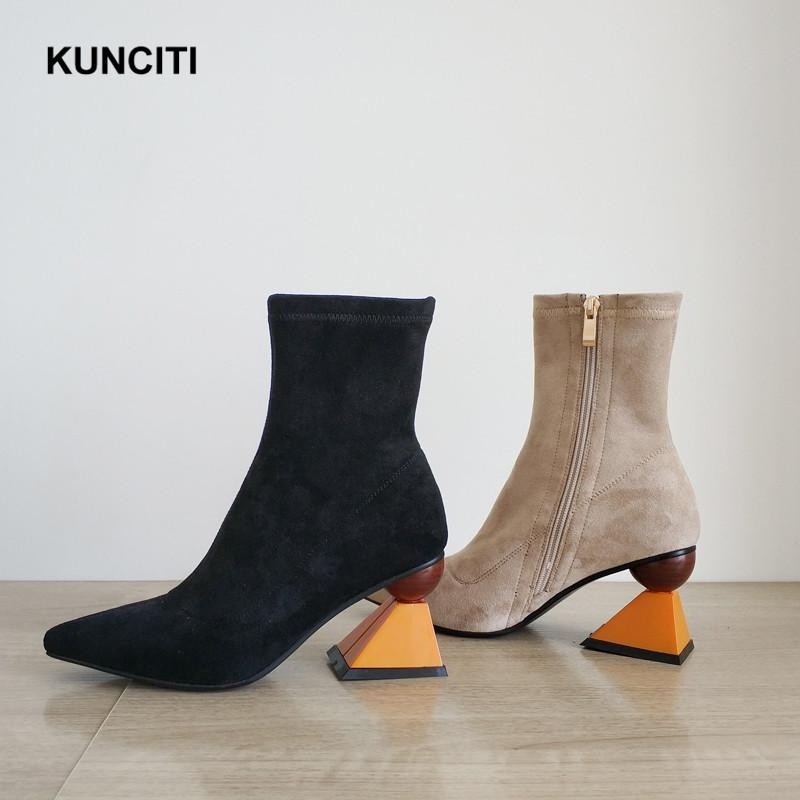 wholesale dealer 77e64 61bdc 2019 neueste Faux Wildleder Stiefel Spitz Stretch High Heel Stiefel Damen  Mode Design Nude Black Ankle Booties Reißverschluss Schuhe D581