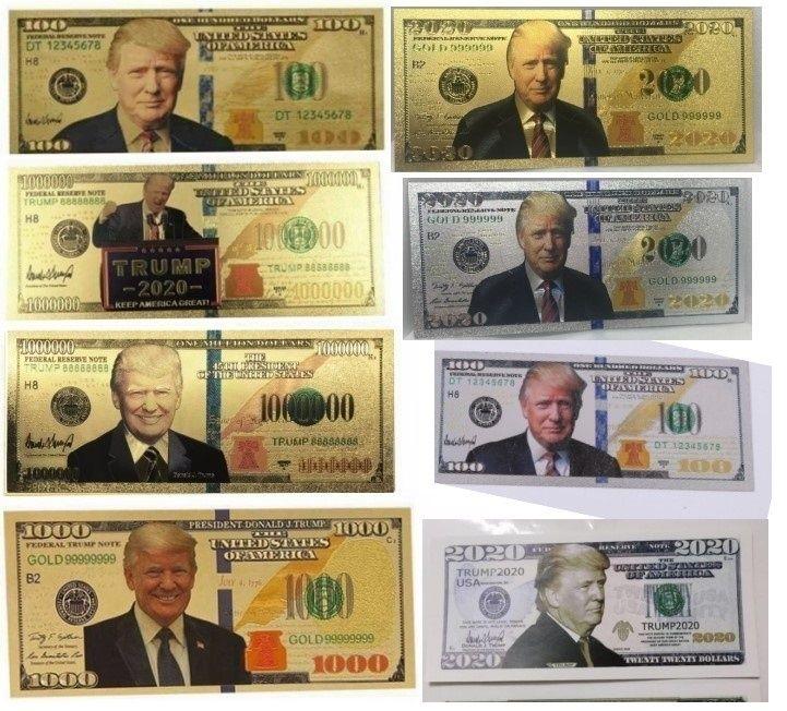 5 Donald /& Melania Trump 24K Gold Plated Dollars Bill Bookmark Novelty Banknote