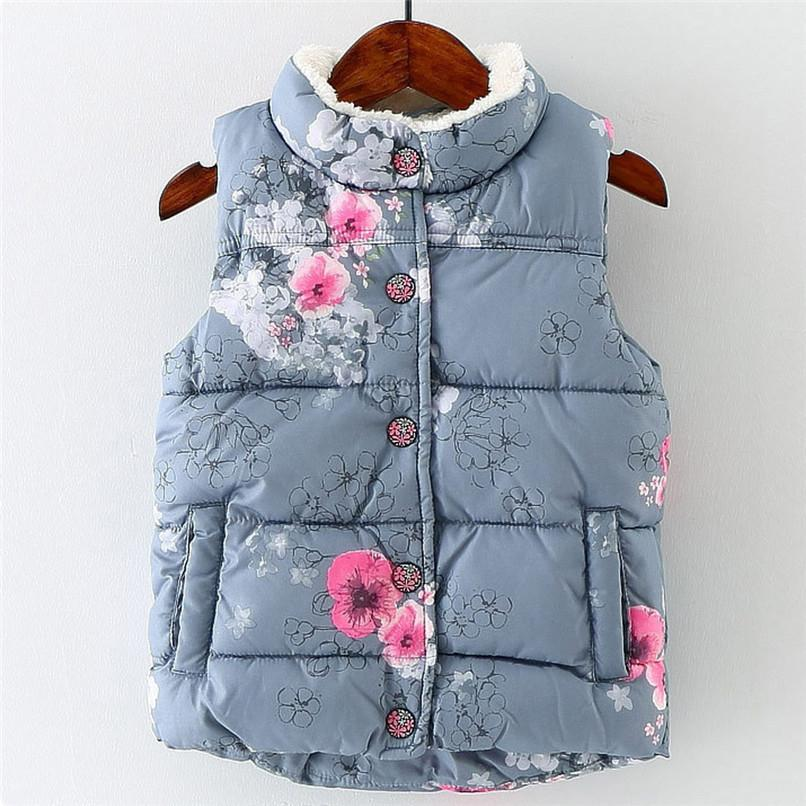 cdc510adf22e Kids Coat Girls Vest Kids Infant Floral Printed Thicken Coat Jackets ...