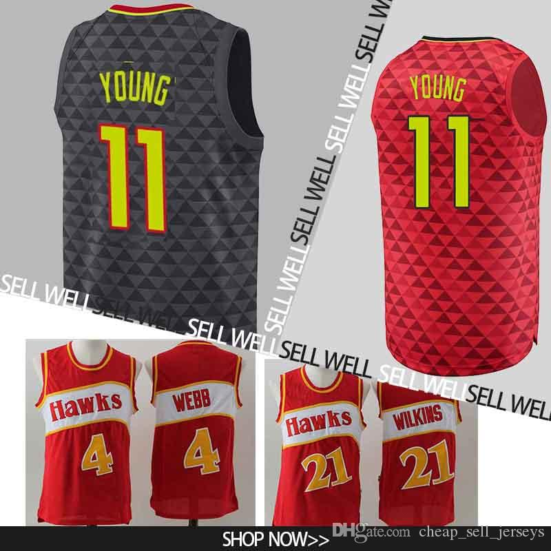 7ba43a64 11 Young jersey Atlanta Basketball Jerseys Hawks Embroidery Logos  Basketball 100% Stitched Jersey