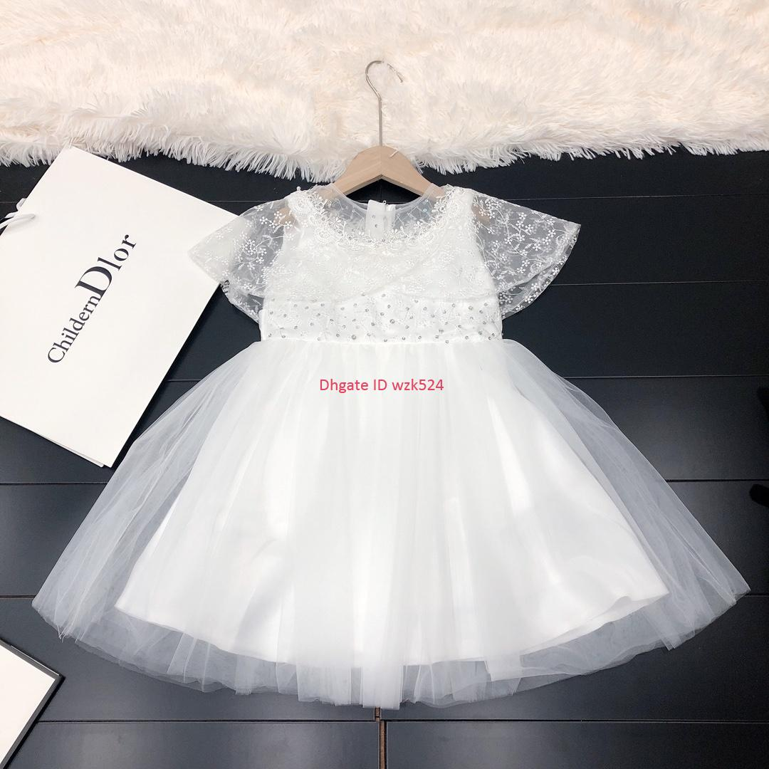 Girls dress kids designer clothing autumn stitching satin dress skirt sequin diamond decoration simple pure white dress