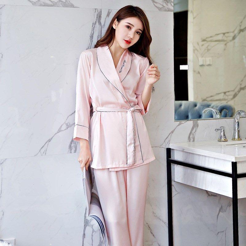 fc20168f8a Spring Autumn Women S Silk Satin Silk Pajamas Robe Gown Set Bathrobe Home  Clothing Pyjamas UK 2019 From Qiangweiflo