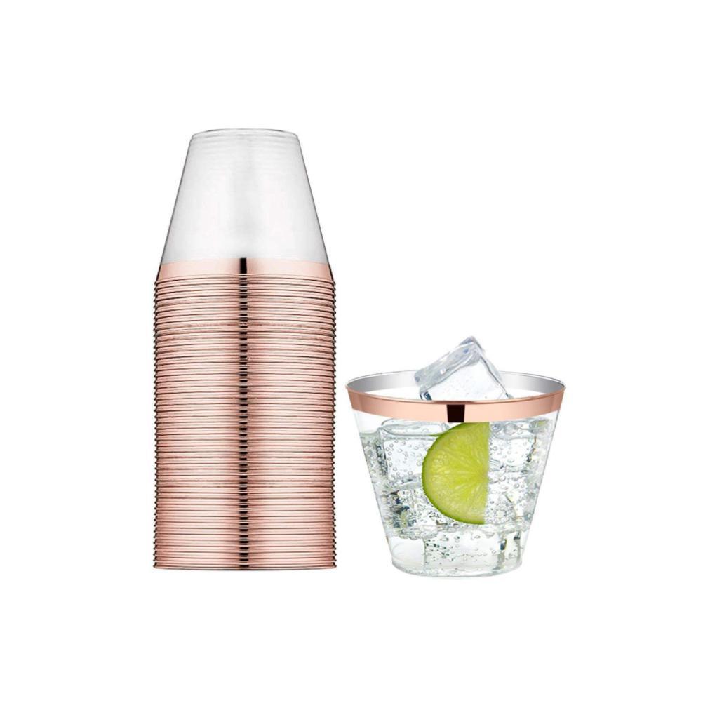 150pcs tasses en plastique jetables or rose a entouré des tasses transparentes de 9oz pour des fêtes d'anniversaire de mariage